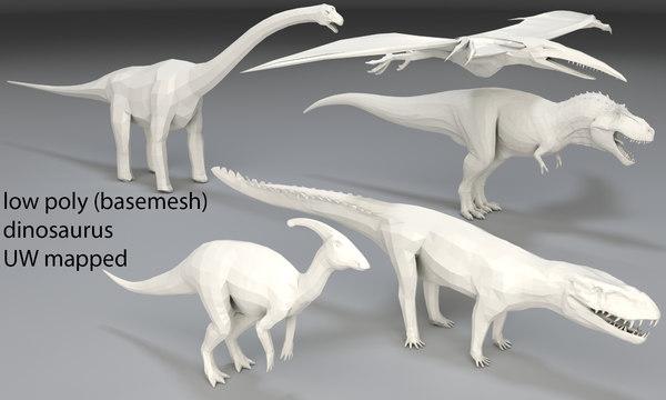 5 dinosaurs 3D model