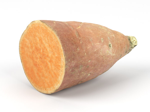 3D photorealistic half sweet potato