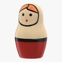 wooden matryoshka doll 3D model