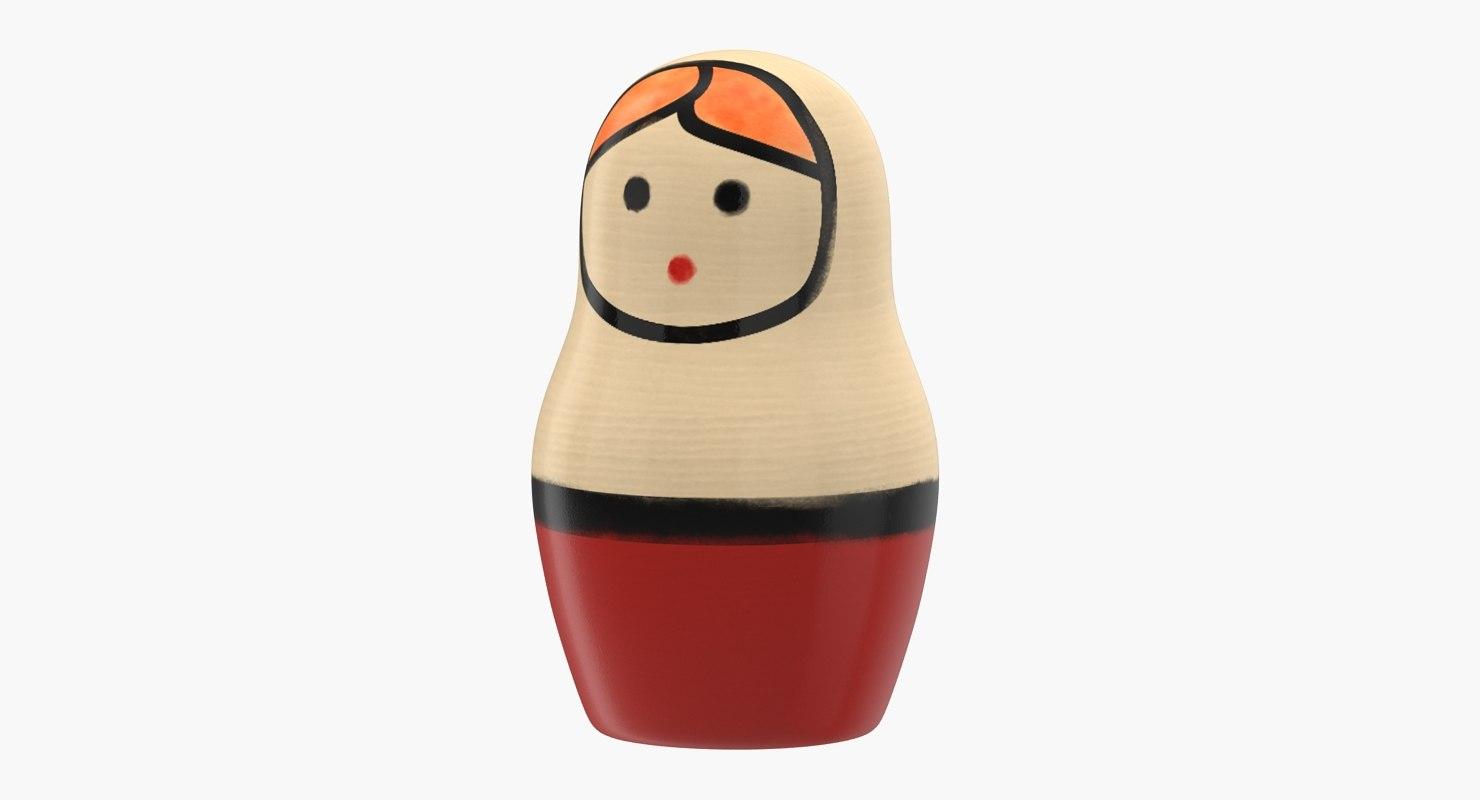 wooden matryoshka doll 3D model