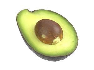 3D model photorealistic scanned avocado half