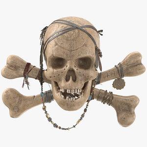 3D pirate skull pbr