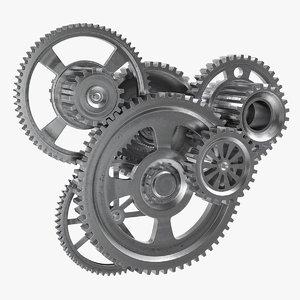 3D model metal gear mechanism rigged
