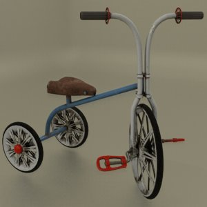 3D old bicycle toy model