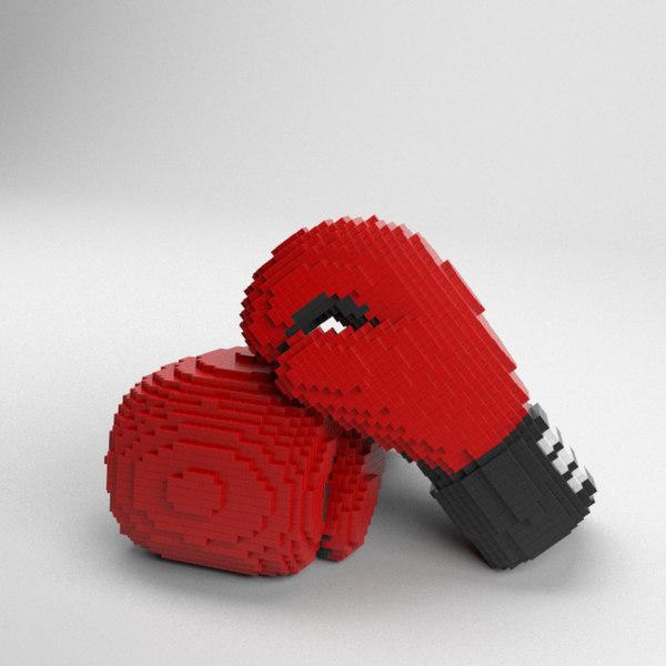 voxel box glove 3D model