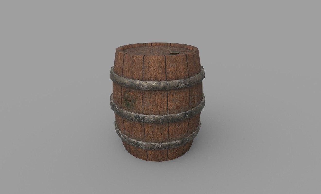 barrel low-poly 3D model