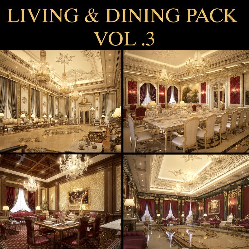 scene living dining room 3D model