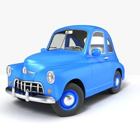 3D retro cartoon car