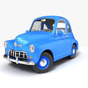 3D retro cartoon car