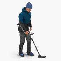 3D man metal detector rigged model