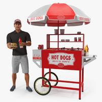 Hot Dog Cart with Vendor Rigged 3D Model