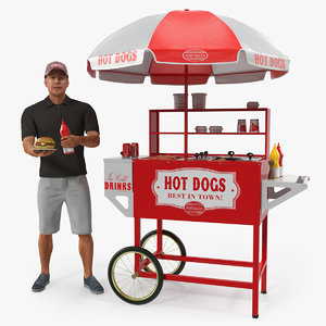 hot dog cart vendor model