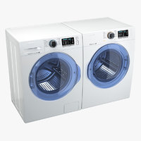 Front Load Washing Machine and Dryer Samsung White 3D Model