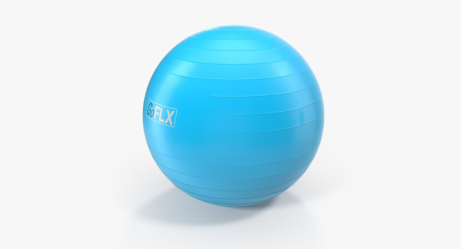 3D fitness stability ball blue model