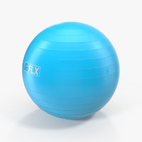 3D fitness stability ball blue model