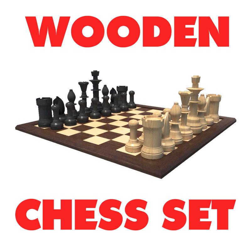 wooden chess coins set 3D