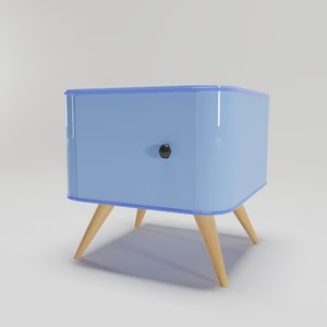 3D bright retro bedside table model