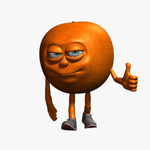 orange cartoon character fruit 3D model