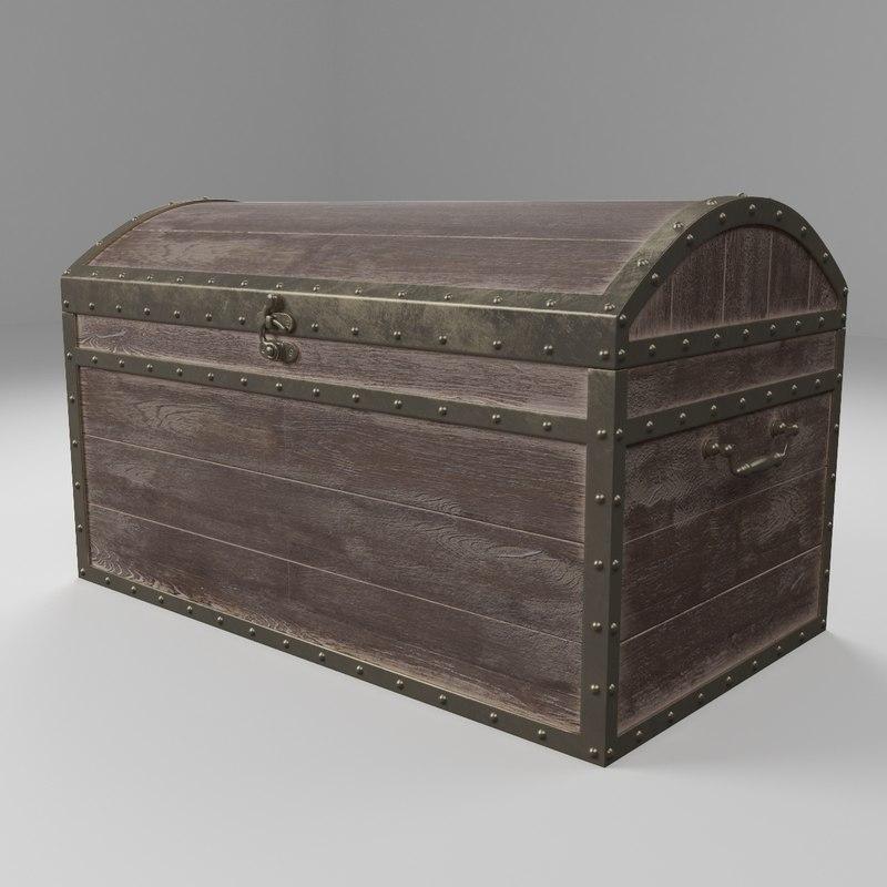 3D wooden chest