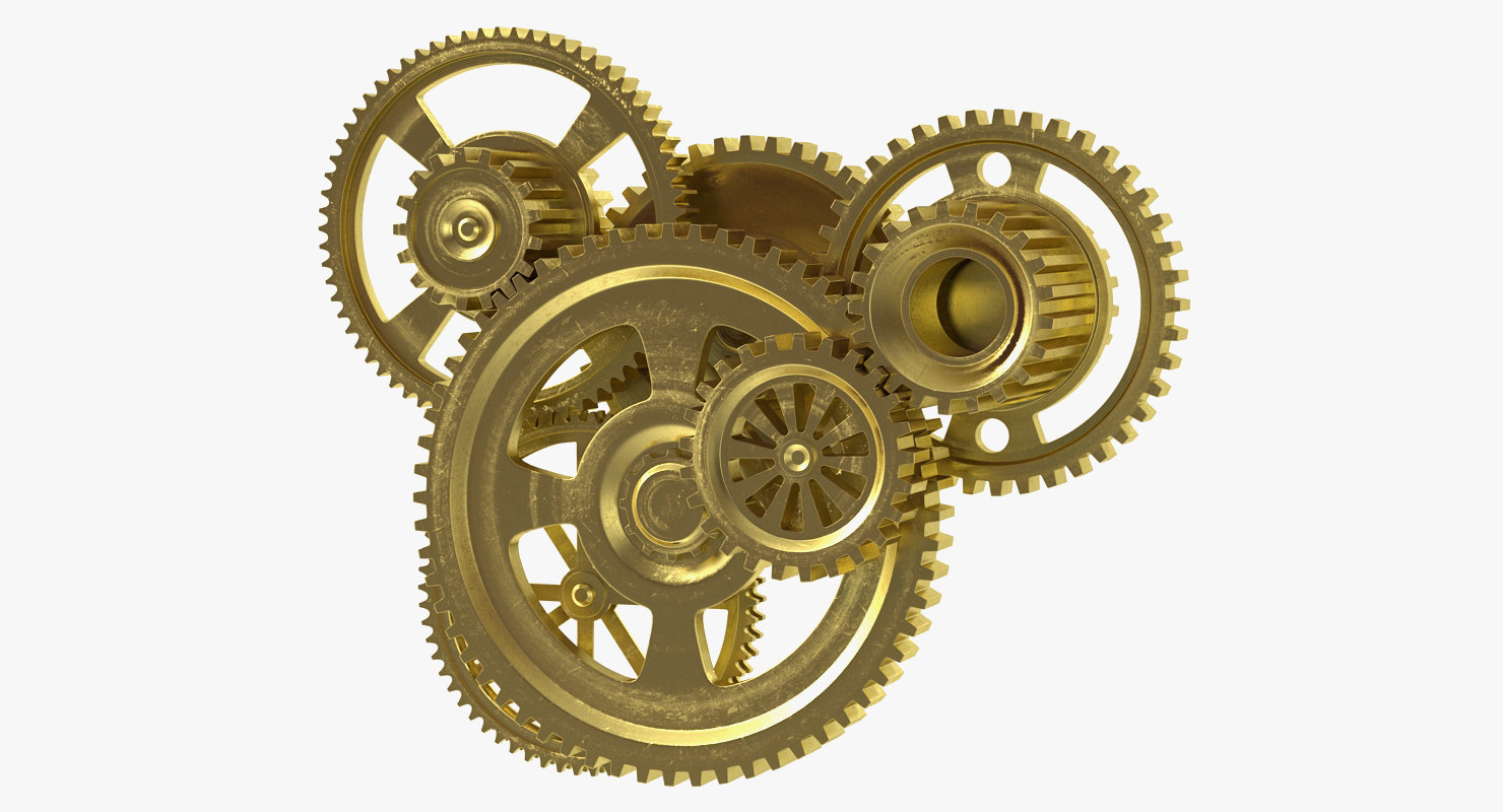 abstract gear mechanism brass model