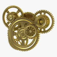 Abstract Gear Mechanism Brass Rigged 3D Model
