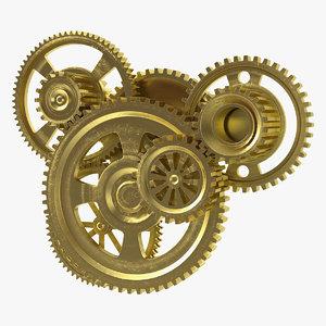 abstract gear mechanism brass model