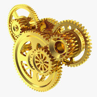 abstract gold gear mechanism 3D