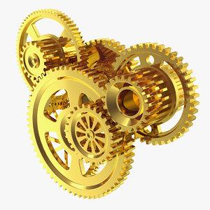 abstract gold gear mechanism 3D