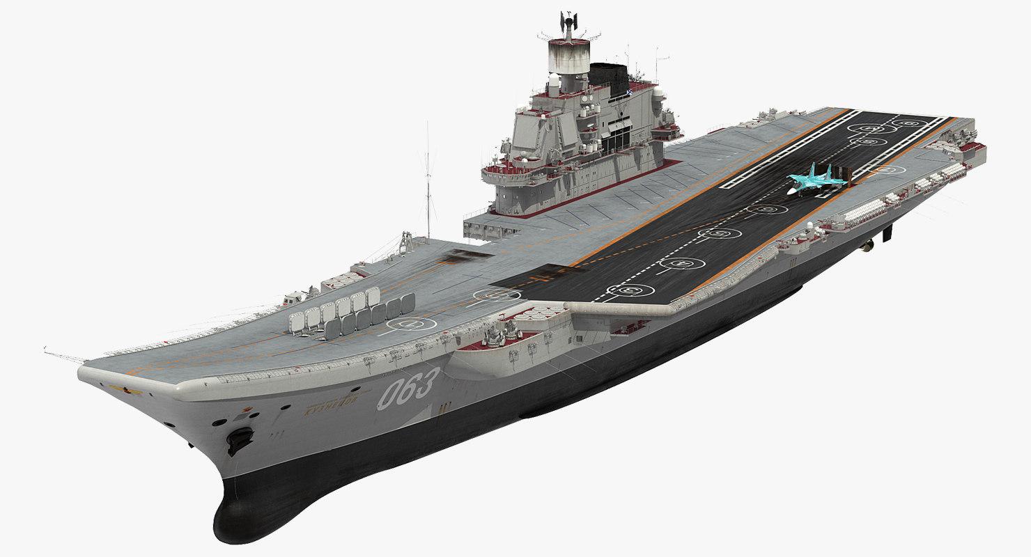 3D aircraft carrier kuznetsov jet