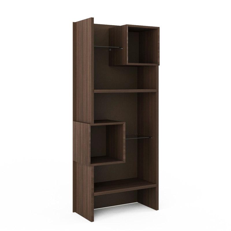 3D open wooden bookcase