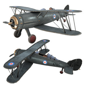 3D airplane gloster gladiator