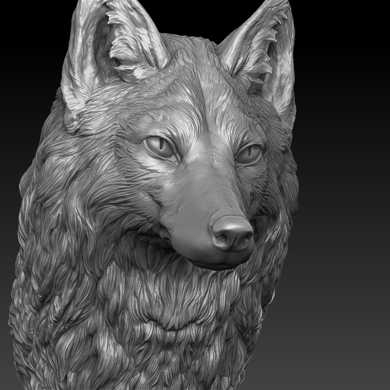 fox head realistic 3D model
