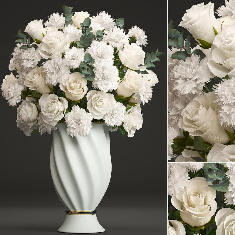 bouquet white flowers model