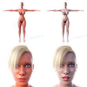 woman t-pose 3D
