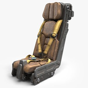 3D science fiction pilot seat model