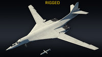 Tu-160 supersonic bomber RIGGED lowpoly (with X55)