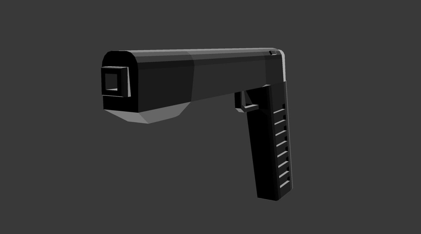 3D futuristic pistol weapons model