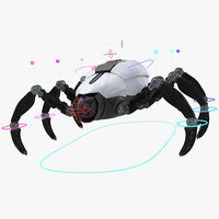 3D model sci-fi spider rigged