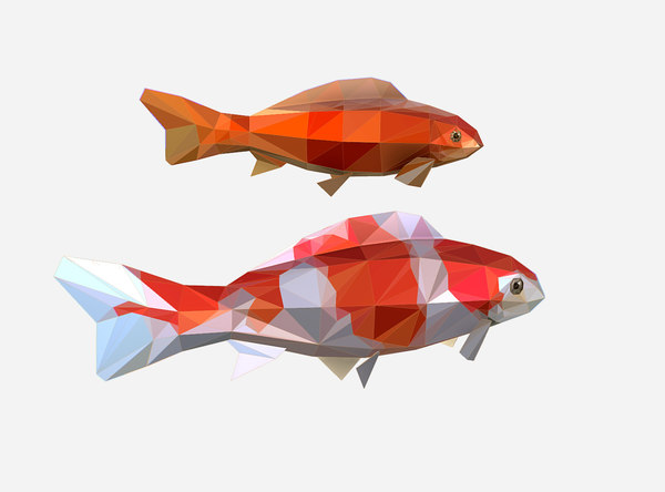 3D art flock fish animation model