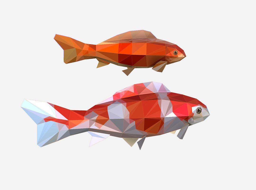 3D art flock fish animation model
