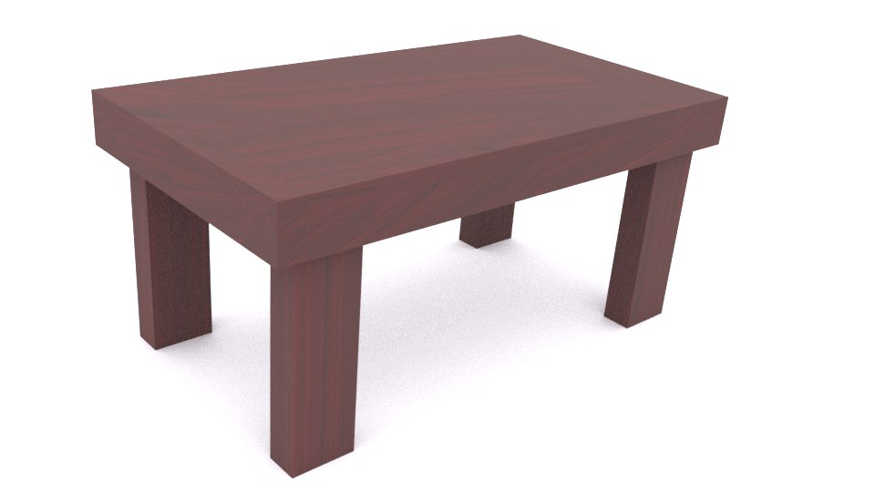3D glossy wooden table model