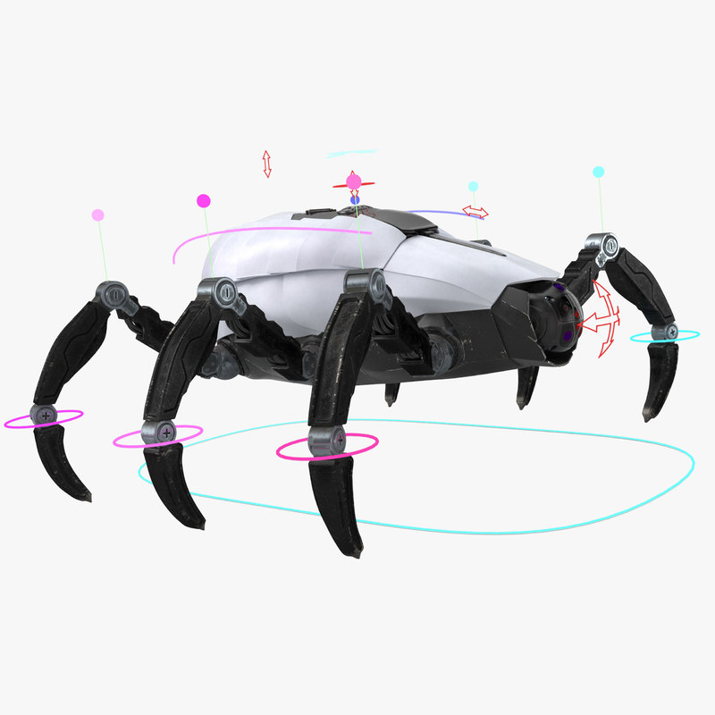 3D model sci-fi spider animation