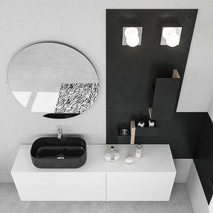 3D bathroom furniture set arcom model