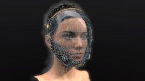 woman girl head sci-fi 3D model