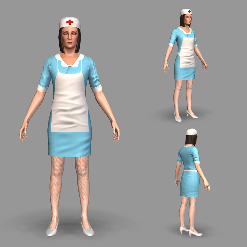 rigged nurse 3D model