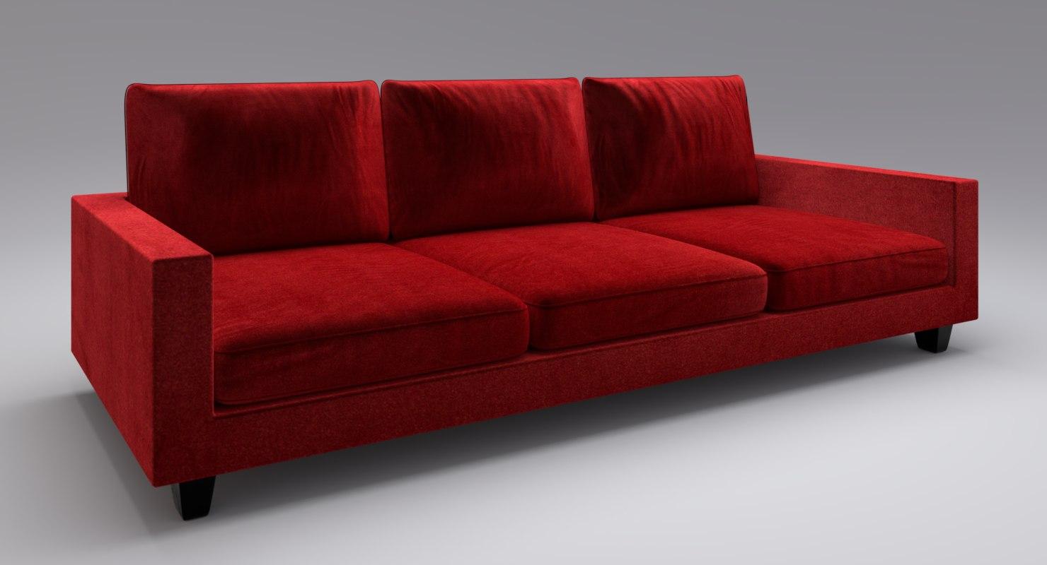 3D Sofa Velvet Model; 3D Sofa Velvet Model ...
