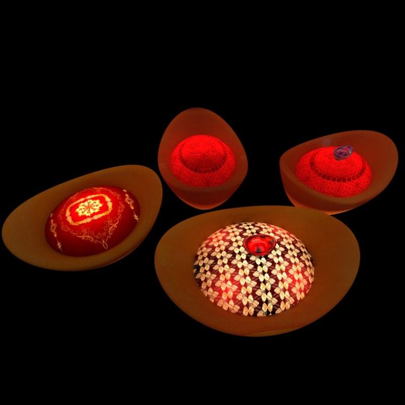 3D chinese gold ingot lantern model