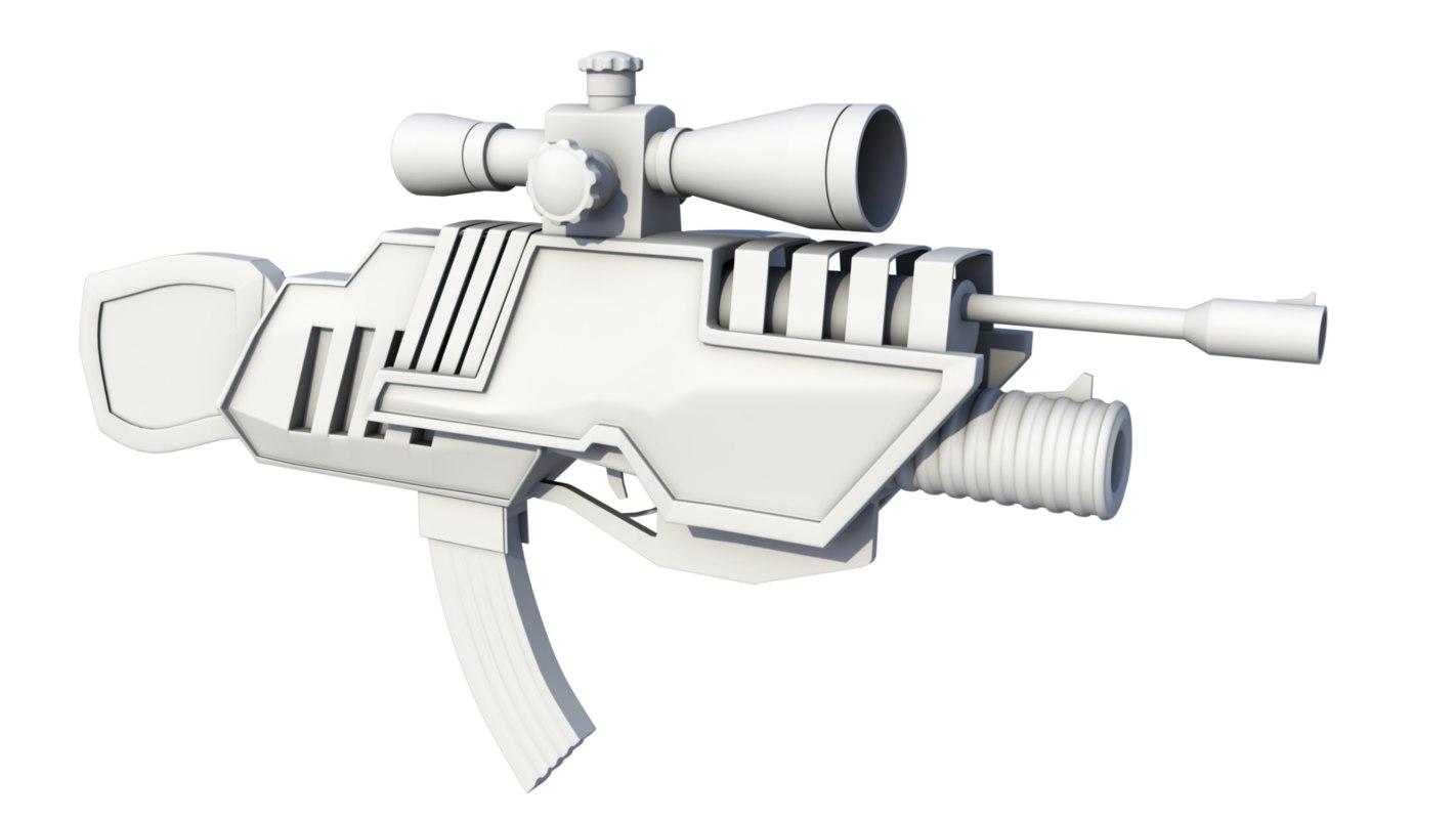 sci-fi assault rifle 1 3D