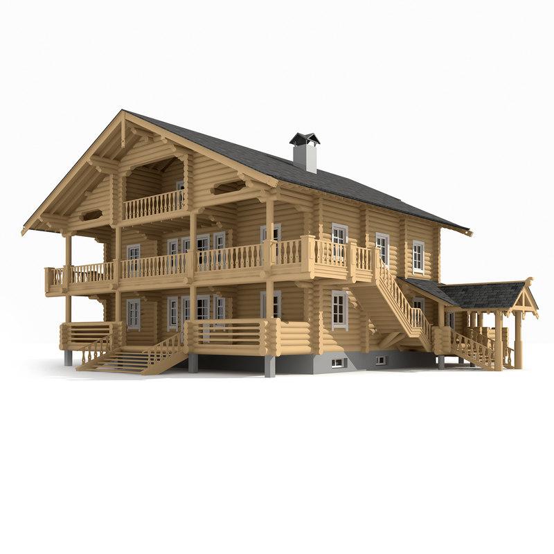 3D log house 394 0