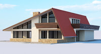 3D house modern american model
